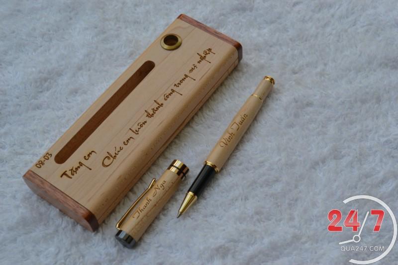 Hop-But-Go-09m Hộp bút gỗ 09 - hộp gỗ không ghép