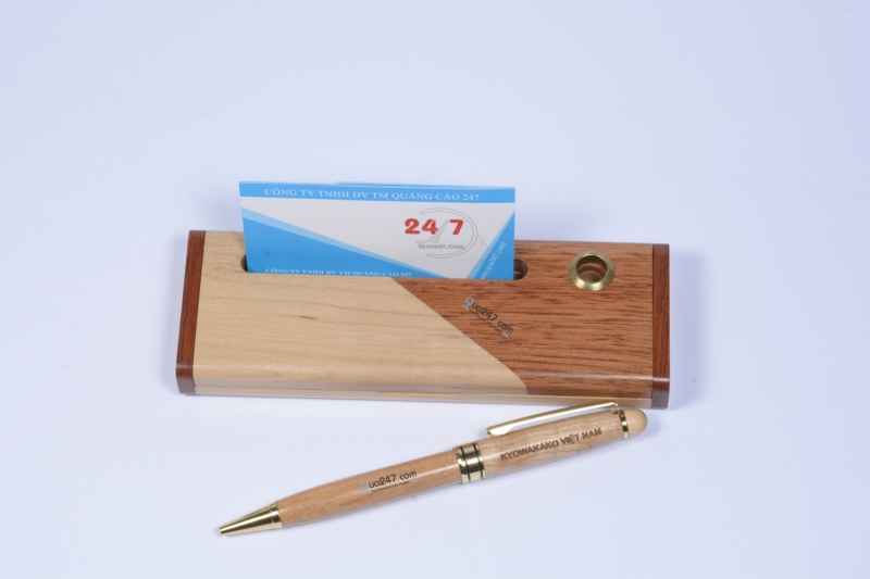 Hop-But-Go-10-3 Hộp bút gỗ 10 - hộp gỗ ghép 2 màu