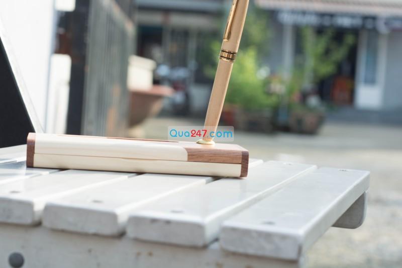 Hop-But-Go-10-6 Hộp bút gỗ 10 - hộp gỗ ghép 2 màu